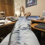 relaxing at the office